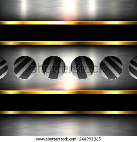 Background metal texture with holes, perforation 3D vector illustration. - stock vector