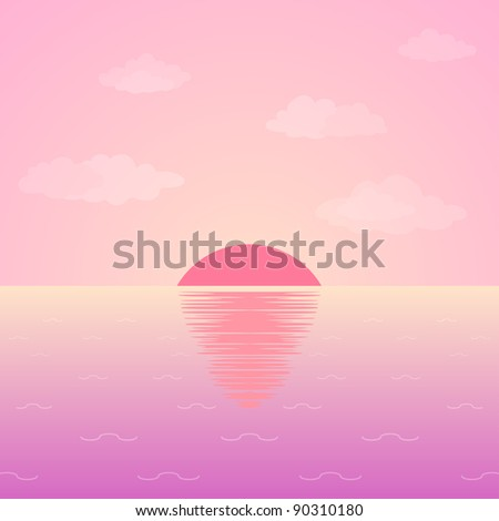 Background, natural landscape: pink morning sky, sea and sun. Vector - stock vector