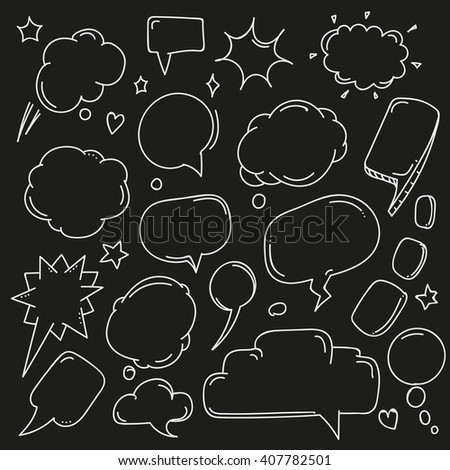 Background of abstract talking bubbles. Set of hand-drawn comic style talk clouds - stock vector