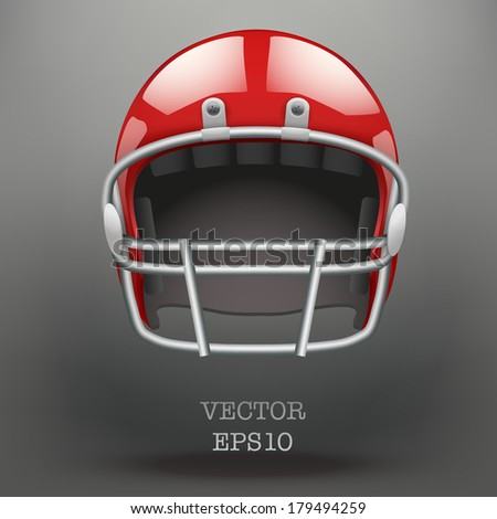 Background of  American football game. Helmet and space for text. Vector sport illustration. Equipment for protection of player. Isolated on background.