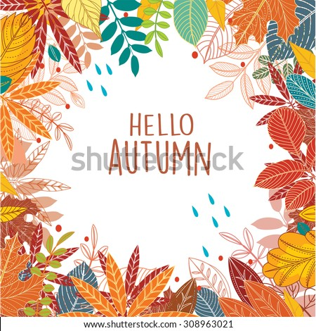 Background of autumn leaves  - stock vector