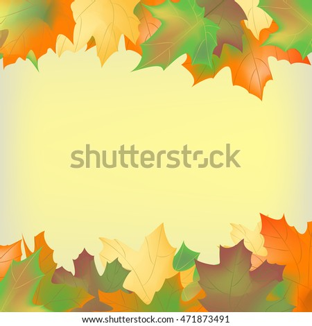 Background of autumn leaves, the inscription in the center