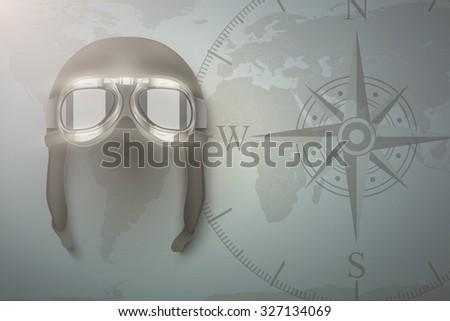 Background of Aviator and aircraft. Helmet on map.  Editable Vector Illustration. - stock vector