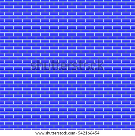Background Of Blue Brick Wall Seamless Wallpaper Vector Illustration Colorful Horizontal Architecture