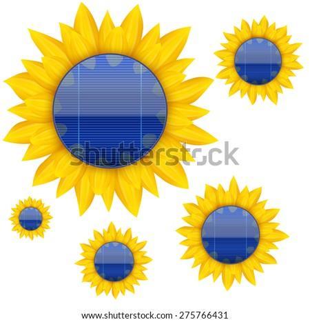 Background of Blue electric solar panel inside sunflower. Vector illustration - stock vector