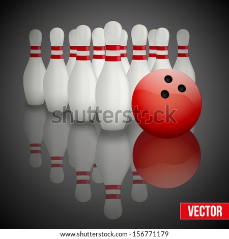 Background of bowling pins and ball with reflection. Vector illustration of sports competitions. Isolated and editable. - stock vector