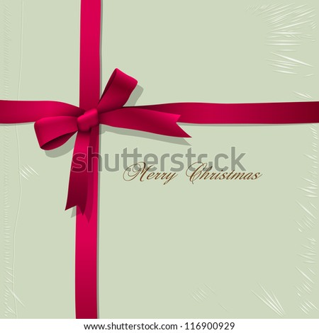 Background of box for candy with tied pink ribbon. Vector illustration - stock vector