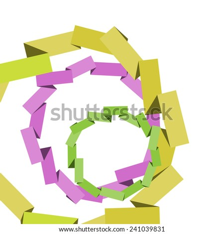 Background of bright ribbons in a circle