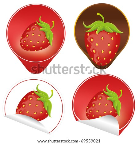 Background of chocolate mousse with  vector of strawberry. Red ripe strawberry with leaves. - stock vector