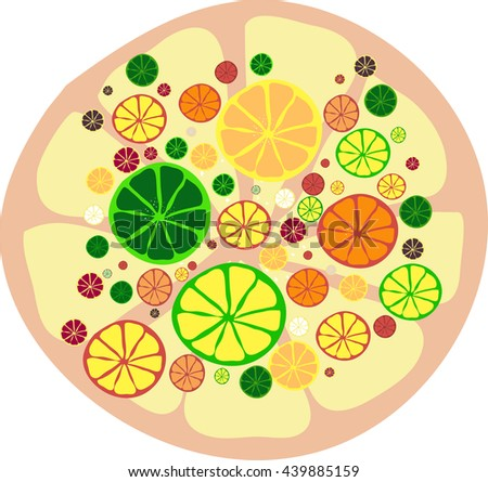 Background of citrus fruits. Orange, tangerine, lime, lemon. Vector