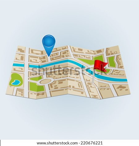 Background of city districts map  - stock vector