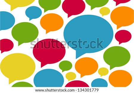 Background of colorful speech bubbles and dialog balloons - stock vector