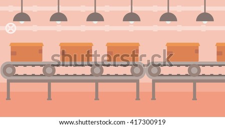 Background of conveyor belt with cardboard boxes. - stock vector