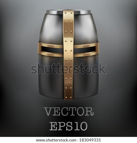 Background of Crusader Knight's Helmet on dark background. Metallic protection. Vector Illustration, editable and isolated. - stock vector
