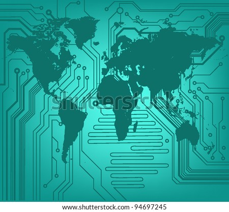 background of digital world map - stock vector