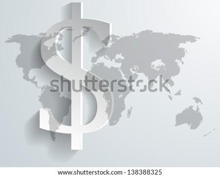 Background of dollar symbol on world map - vector illustration - stock vector