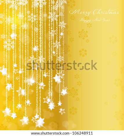 background of falling stars on Christmas and New Year - stock vector