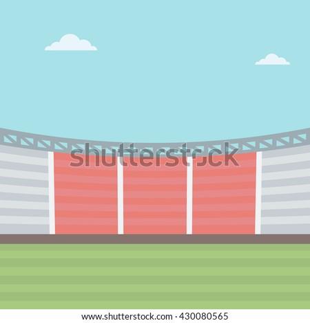 Background of football stadium vector flat design illustration. Square layout. - stock vector
