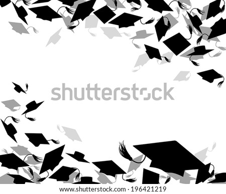 background of graduate caps  - stock vector