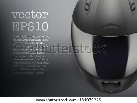 Background of High quality light gray motorcycle helmet. Sport vector Illustration, eps10. - stock vector