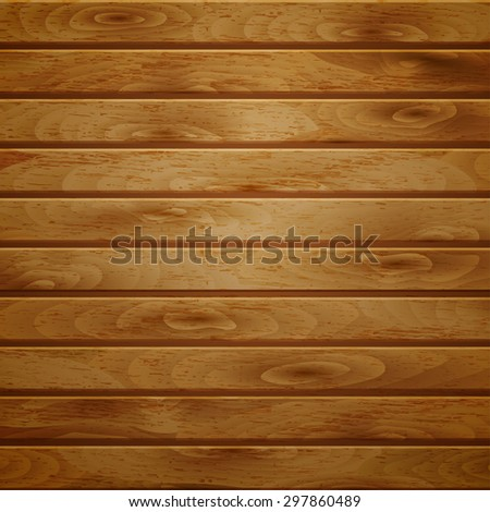 Background of horizontal wooden planks in light brown color - stock vector