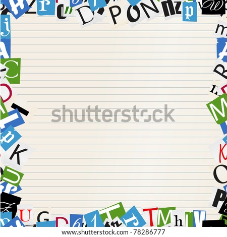 Background of letters frame on paper