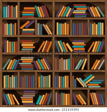 background of library book shelf - stock vector