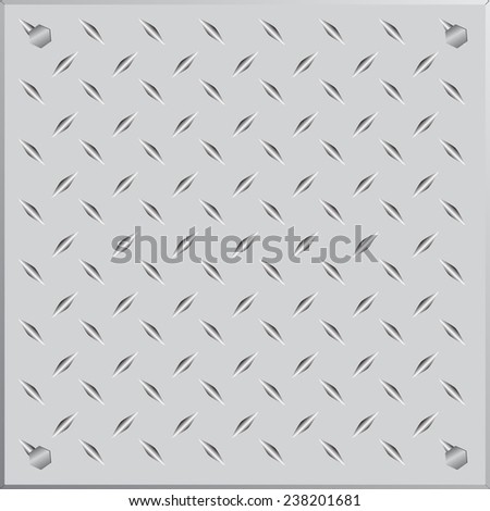 Background of metal diamond plate in silver color. - stock vector