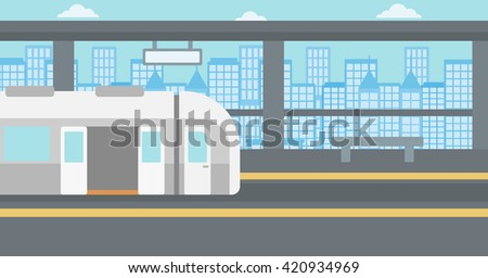 Background of modern train at the station. - stock vector