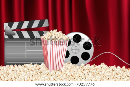Background of movie related items. Vector illustration of - stock vector