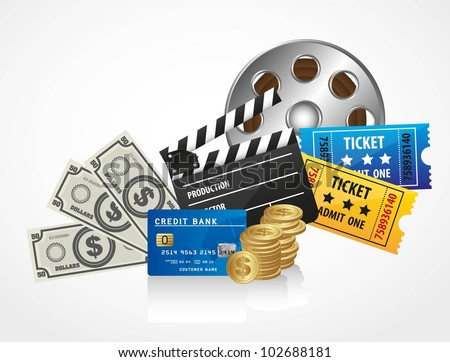 background of movies, contains entries, coins, bills, credit card and movies - stock vector