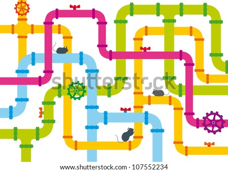 background of multicolored pipes with valve and funny mice