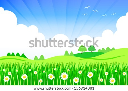 Background of natural flower fields and bright sunshine.