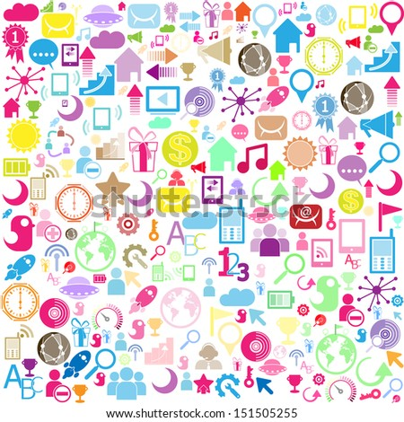 background of network icons - vector icons  - stock vector