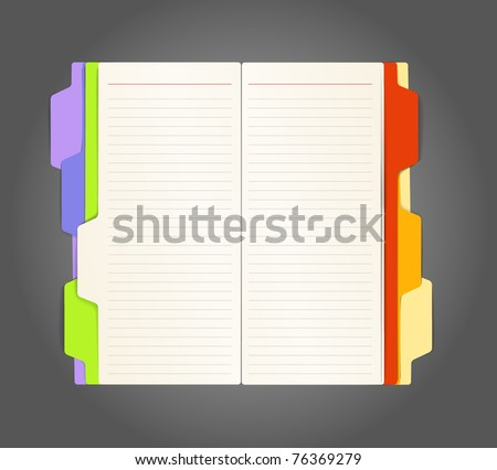 Background of opened diary on a table - stock vector