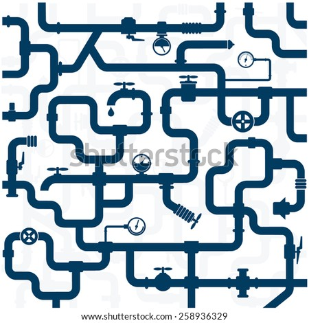 background of plumbing and taps, repair vector