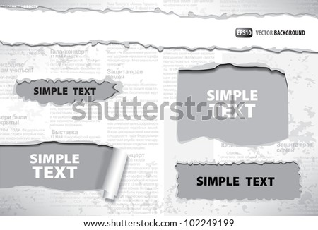 background of ragged old Russian newspaper - stock vector