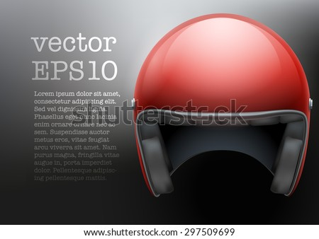 Background of red motorcycle or scooter helmet. Vector Illustration of safety.  - stock vector