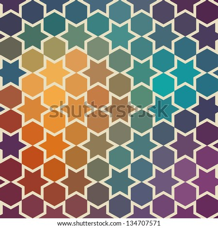 Background of repeating geometric stars. Spectrum geometric background. Retro hipster color spectrum background. Square composition with geometric color flow effect. - stock vector