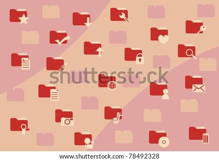 Background of set folder icons - stock vector