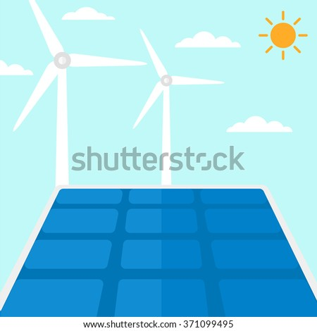 Background of solar panels and wind turbines. - stock vector