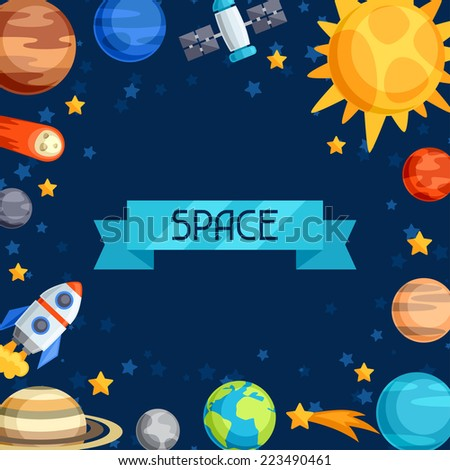 Background of solar system, planets and celestial bodies. - stock vector