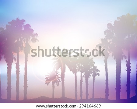 Background of summer palm tree landscape with retro effect - stock vector