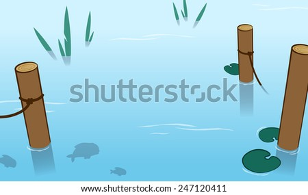 Background of tranquil blue water in a pond with wooden mooring poles and fish swimming below the surface, vector illustration - stock vector
