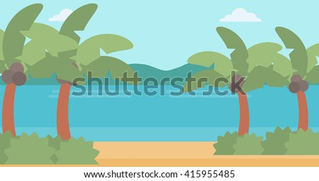 Background of tropical beach and sea. - stock vector