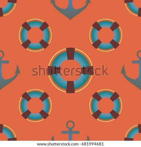 Background on a marine theme with anchors and lifebuoys.