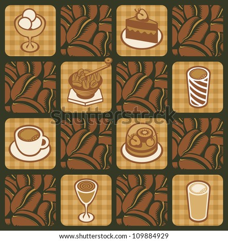 background on the topic of coffee beans - stock vector