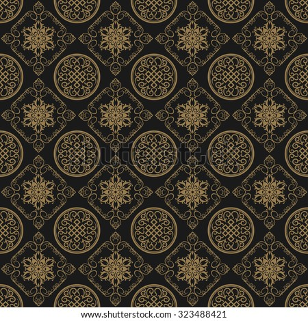 Background pattern. Asian style texture: Chinese, Japanese, Indian. Modern wallpaper for your design: web pages, greeting cards, posters, books, wrapping paper, dark background, Vector background - stock vector
