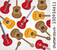 background pattern of acoustic and electric guitars, vector illustration - stock vector