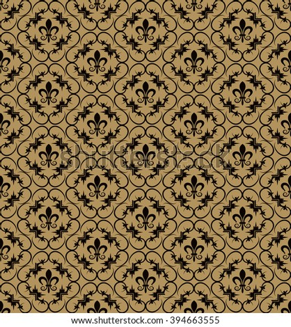 Background pattern. Old style texture: Victorian, Ancient,  Royal. Modern wallpaper for your design: web pages, greeting cards, posters, books, wrapping paper, brown background, vector
